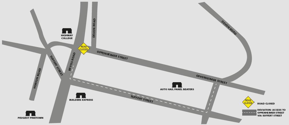 Oppenheimer road deviation map.