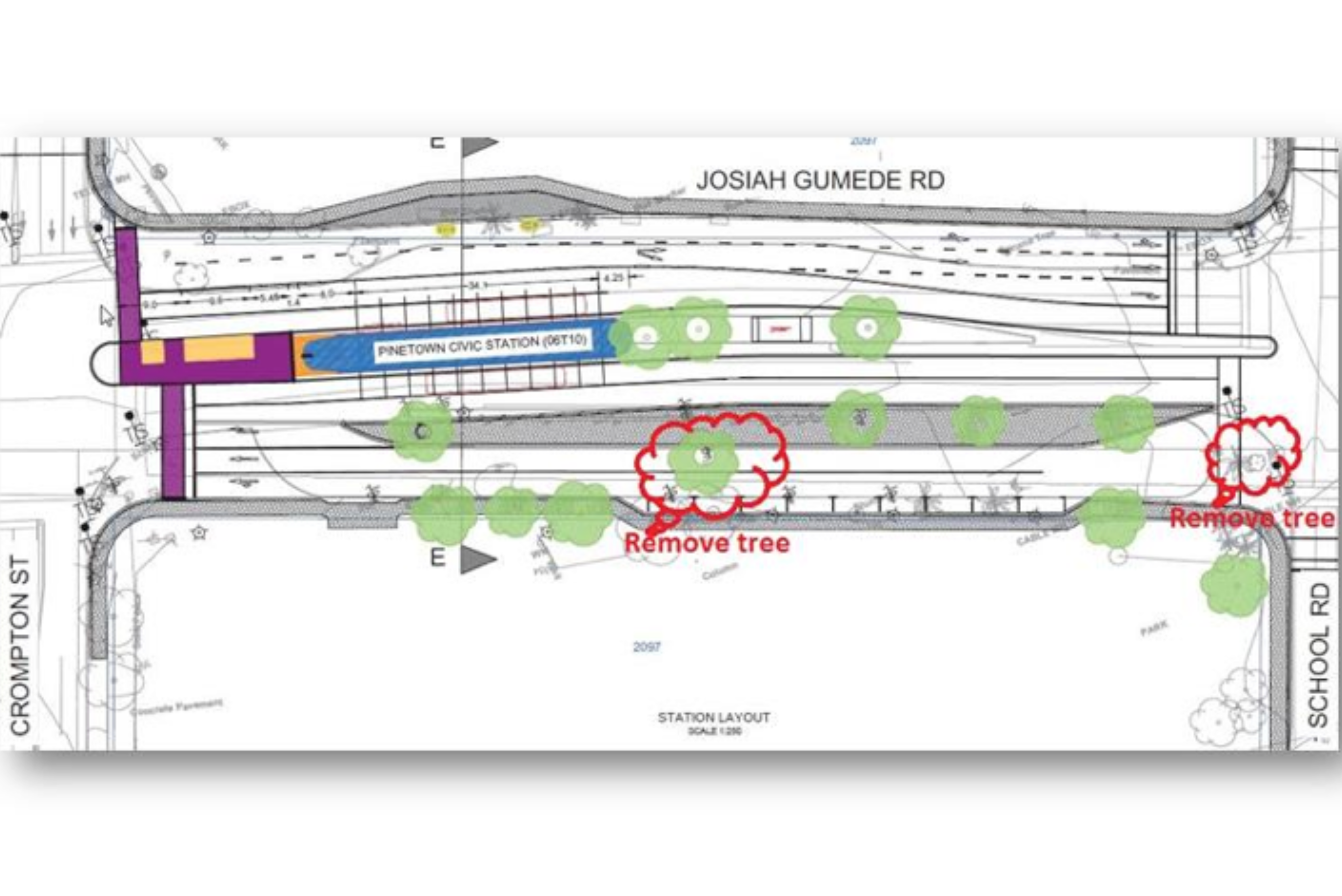 This image is a map of the new station design that accommodates the historical trees in the area.